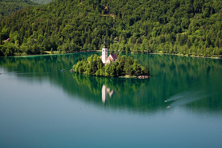 Lake Bled is located in the forested foothills north of Ljubljana, Slovenia.
