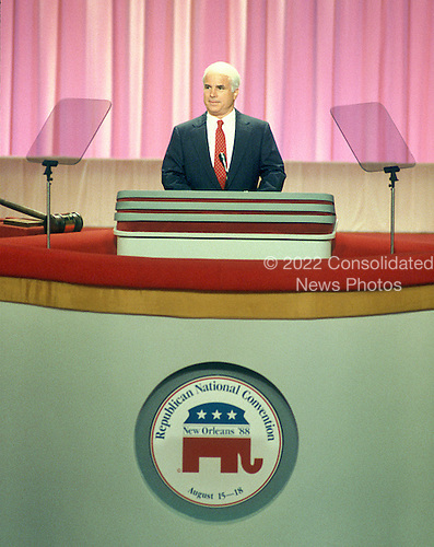 United States Senator John McCain (Republican of Arizona) makes remarks at the 1988 Republican National Convention at the Superdome in New Orleans, Louisiana on Monday, August 15, 1988.  McCain is the presumptive 2008 Republican nominee for President of the United States..Credit: Arnie Sachs / CNP