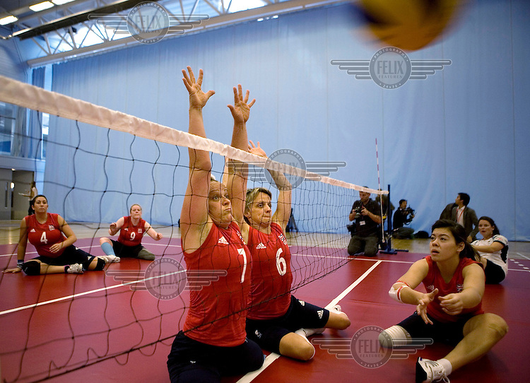 Martine Wright (number 7) in training with Team GB's Paralympic Women's sitting Volleyball squad at The University of Bath.