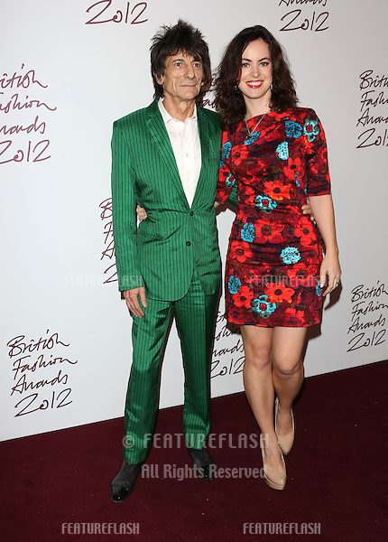Ronnie Wood and fiance Sally Humphreys arriving for The British Fashion Awards 2012 held at The Savoy, London. 27/11/2012 Picture by: Henry Harris / Featureflash