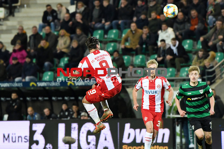 14.02.2020, Preußenstadion, Münster, GER, 3.FBL, SC Preussen Muenster vs. FC Wuerzburger Kickers, <br /> <br /> DFL REGULATIONS PROHIBIT ANY USE OF PHOTOGRAPHS AS IMAGE SEQUENCES AND/OR QUASI-VIDEO<br /> <br /> im Bild<br /> Dominic Baumann (FC Würzburger Kickers #9), Aktion / Einzelbild / <br /> <br /> Foto © nordphoto / Paetzel