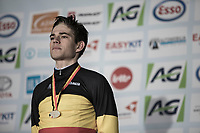 Podium: Wout Van Aert (BEL/Crelan Charles) winning his 3th National cx Champions title in a row. <br /> <br /> Men's Elite Race<br /> Belgian National Cyclocross Championships 2018 / Koksijde