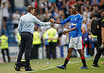 25.07.2019 Rangers v Progres Niederkorn: Steven Gerrard and Joe Aribo at full time