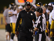 Canton, Ohio - August 9, 2015: Pittsburgh Steelers head coach Mike Tomlin walks the sidelines during a preseason game against the Minnesota Vikings at the Hall of Fame Stadium in Canton, Ohio, August 9, 2015.  (Photo by Don Baxter/Media Images International)