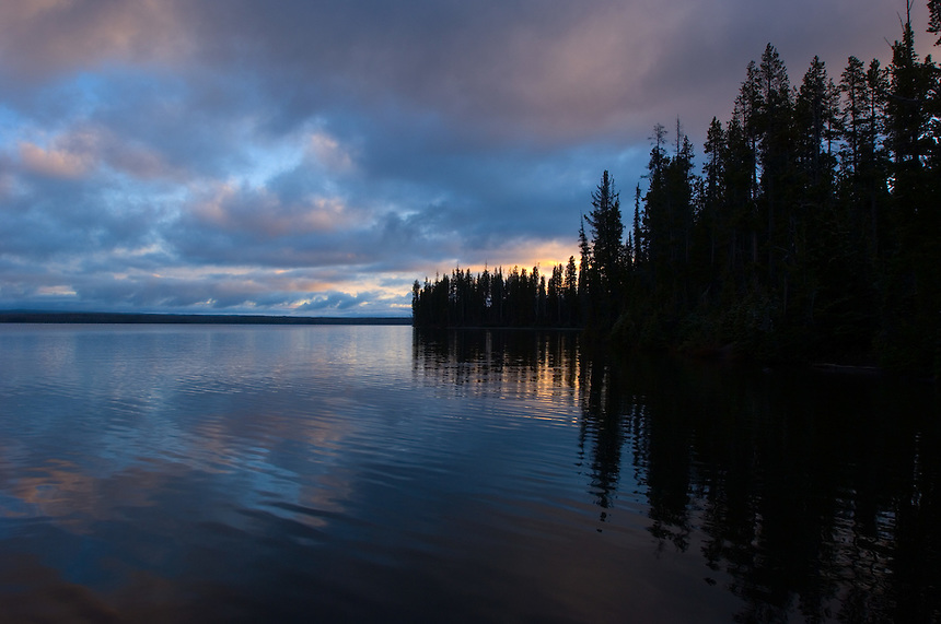Twilight morning arrives over Lewis Lake in Yellowstone National Park, Thursday, June 2, 2005. The lake is a popular destination for boaters. (Kevin Moloney for the New York Times)