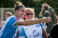 Kansas City, MO - Wednesday August 16, 2017: fan, fans, Steph Catley during a regular season National Women's Soccer League (NWSL) match between FC Kansas City and the Orlando Pride at Children's Mercy Victory Field.