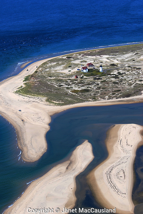 Aerial view of Race Point, Cape Cod National Seashore, and the sandbars at the creek's outlet.