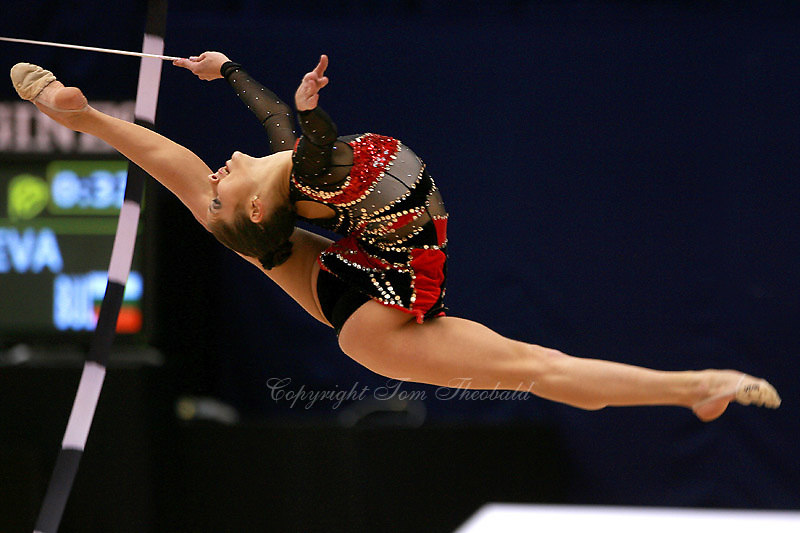 Simona Peycheva of Bulgaria split leaps with ribbon at 2006 Mie World Cup Finale of rhythmic gymnastics on November18, 2006 at Mie, Japan.<br />