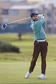 5th October 2017, The Old Course, St Andrews, Scotland; Alfred Dunhill Links Championship, first round;  Jamie Dornan play tees off on the fourth tee