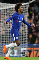 Willian celebrates scoring Chelsea's first goal during Chelsea vs Hull City, Emirates FA Cup Football at Stamford Bridge on 16th February 2018