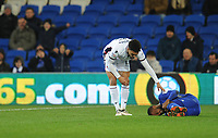 Bolton Wanderers' Antonee Robinson checks on Cardiff City's Junior Hoilett after committing a foul<br /> <br /> Photographer Kevin Barnes/CameraSport<br /> <br /> The EFL Sky Bet Championship - Cardiff City v Bolton Wanderers - Tuesday 13th February 2018 - Cardiff City Stadium - Cardiff<br /> <br /> World Copyright &copy; 2018 CameraSport. All rights reserved. 43 Linden Ave. Countesthorpe. Leicester. England. LE8 5PG - Tel: +44 (0) 116 277 4147 - admin@camerasport.com - www.camerasport.com