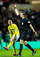 Referee Robert Jones shows Preston North End's Ben Pearson (not pictured) the red card<br /> <br /> Photographer Alex Dodd/CameraSport<br /> <br /> The EFL Sky Bet Championship - Preston North End v Leeds United -Tuesday 9th April 2019 - Deepdale Stadium - Preston<br /> <br /> World Copyright &copy; 2019 CameraSport. All rights reserved. 43 Linden Ave. Countesthorpe. Leicester. England. LE8 5PG - Tel: +44 (0) 116 277 4147 - admin@camerasport.com - www.camerasport.com