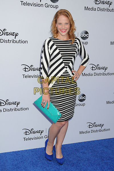 Katie Leclerc.Disney Media Networks International Upfronts 2013 held at Walt Disney Studios, Burbank, California, USA..May 19th, 2013.full length dress blue shoes turquoise hand on hip clutch bag black white stripe   .CAP/ADM/BP.©Byron Purvis/AdMedia/Capital Pictures