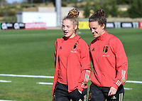 20200307  Parchal , Portugal : illustration picture showing the Belgian players with Belgian Elena Dhont (13) and Belgian Chloe Vande Velde (19) on the pitch prior to thefemale football game between the national teams of Belgium called the Red Flames and Portugal on the second matchday of the Algarve Cup 2020 , a prestigious friendly womensoccer tournament in Portugal , on saturday 7 th March 2020 in Parchal , Portugal . PHOTO SPORTPIX.BE | DAVID CATRY