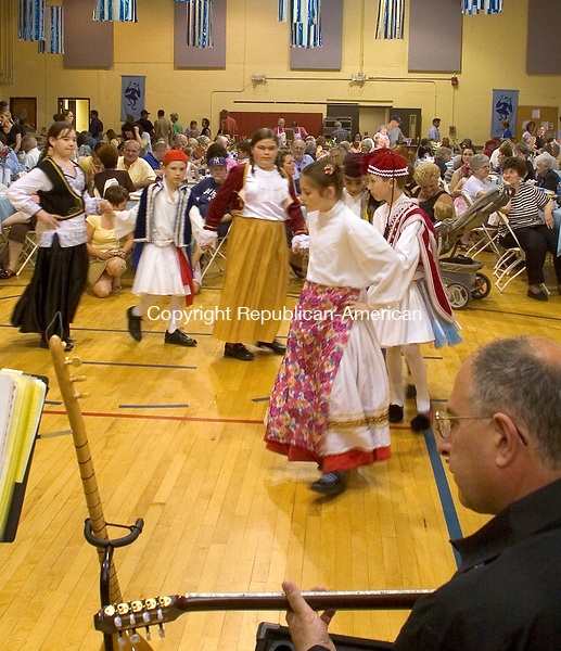 WATERBURY, CT - 10 MAY 2007 - 051007JW02.jpg --  Young children perform traditional Greek dance Thursday evening during the Holy Trinity Greek Orthodox Church's 35th Annual Mothers Day Weeekend Greek Festival. The festival continues throughout the weekend, Friday 10a.m. to 11p.m., Saturday 10a.m. to midnight and ending Sunday 11a.m. to 3p.m.. Jonathan Wilcox Republican-American