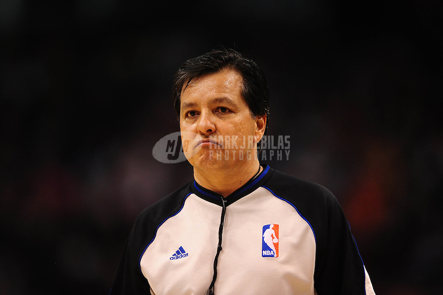 Dec. 26, 2011; Phoenix, AZ, USA; NBA referee Tommy Nunez during Phoenix Suns against the New Orleans Hornets at the US Airways Center. The Hornets defeated the Suns 85-84. Mandatory Credit: Mark J. Rebilas-USA TODAY Sports