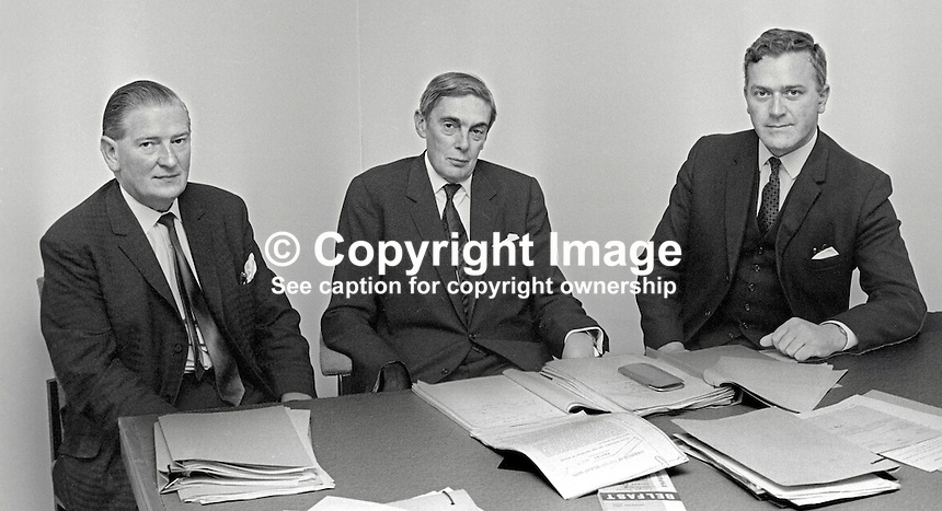 First meeting of the Scarman Tribunal set up to investigate Violence and Civil Disturbances in Northern Ireland in 1969. Mr Justice Scarman, centre, is pictured with George Lavery, left) and William Marshall, right. February 1970. 197002000072<br />