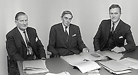 First meeting of the Scarman Tribunal set up to investigate Violence and Civil Disturbances in Northern Ireland in 1969. Mr Justice Scarman, centre, is pictured with George Lavery, left) and William Marshall, right. February 1970. 197002000072<br /> <br /> Copyright Image from Victor Patterson, 54 Dorchester Park, Belfast, UK, BT9 6RJ<br /> <br /> t1: +44 28 9066 1296 (from Rep of Ireland 048 9066 1296)<br /> t2: +44 28 9002 2446 (from Rep of Ireland 048 9002 2446)<br /> m: +44 7802 353836<br /> <br /> victorpattersonbelfast@gmail.com<br /> victorpatterson@me.com<br /> <br /> www.victorpatterson.com<br /> <br /> Please see my Terms and Conditions of Use at https://www.victorpatterson.com/page2<br /> It is IMPORTANT that you familiarise yourself with them.<br /> <br /> Images used on the Internet incur an additional cost and must be visibly watermarked i.e. © Victor Patterson within the body of the image and copyright metadata must not be deleted. Images used on the Internet have a size restriction of 4kbs and are chargeable at rates available at victorpatterson.com.<br /> <br /> This image is available only for the use of the download recipient i.e. television station, newspaper, magazine, book publisher, etc, and must not be passed on to any third party. It is also downloaded on condition that each and every usage is notified within 7 days to victorpatterson@me.com<br /> <br /> The right of Victor Patterson (or the named photographer) to be identified as the author is asserted in accordance with The Copyright Designs And Patents Act (1988). All moral rights are asserted.