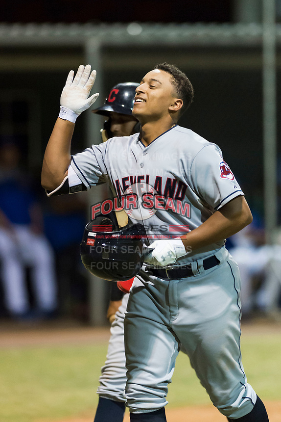 AZL Indians 2 catcher Noah Naylor (12) is congratulated by teammates after hitting his first professional home run during an Arizona League game against the AZL Cubs 2 at Sloan Park on August 2, 2018 in Mesa, Arizona. The AZL Indians 2 defeated the AZL Cubs 2 by a score of 9-8. (Zachary Lucy/Four Seam Images)
