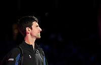 Novak Djokovic in action against Kevin Anderson in their semi final match <br /> <br /> Photographer Hannah Fountain/CameraSport<br /> <br /> International Tennis - Nitto ATP World Tour Finals Day 7 - O2 Arena - London - Saturday 17th November 2018<br /> <br /> World Copyright &copy; 2018 CameraSport. All rights reserved. 43 Linden Ave. Countesthorpe. Leicester. England. LE8 5PG - Tel: +44 (0) 116 277 4147 - admin@camerasport.com - www.camerasport.com