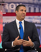 Ajit Pai, Chairman, Federal Communications Commission (FCC), speaks at the Conservative Political Action Conference (CPAC) at the Gaylord National Resort and Convention Center in National Harbor, Maryland on Friday, February 23, 2018.<br /> Credit: Ron Sachs / CNP