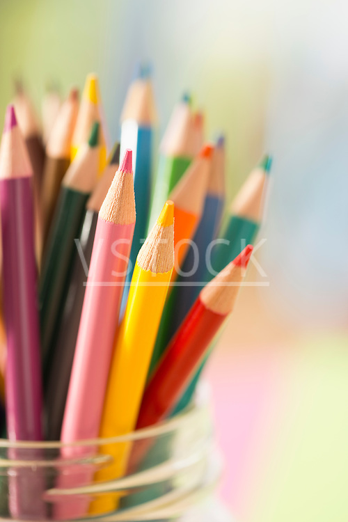 Colorful pencils in jar
