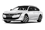 Stock pictures of low aggressive front three quarter view of a 2019 Peugeot 508 GT-Line 5 Door Wagon