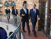Riverside, CA - October 16, 2003 -- United States President George W. Bush, right, meets with California Governor-elect Arnold Schwarzenegger, left, at the President's hotel in Riverside, California Thursday, October 16, 2003..Mandatory Credit: Eric Draper - White House via CNP..