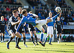 St Johnstone v Dundee....11.04.15   SPFL<br /> Brian Graham attempts an overhead kick<br /> Picture by Graeme Hart.<br /> Copyright Perthshire Picture Agency<br /> Tel: 01738 623350  Mobile: 07990 594431