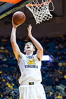 Morgantown, WV - NOV 18, 2017: West Virginia Mountaineers forward Logan Routt (31) goes up for a lay up during game between West Virginia and Morgan State at WVU Coliseum Morgantown, West Virginia. (Photo by Phil Peters/Media Images International)