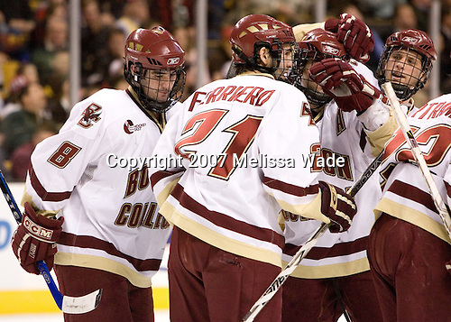 Brett Motherwell (Boston College - St. Charles, IL), Benn Ferriero (Boston College - Essex, MA), Joe Rooney (Boston College - Canton, MA), and Mike Brennan (Boston College - Smithtown, NY) celebrate Ferriero's goal which tied the game at 1. The Boston College Eagles defeated the Harvard University Crimson 3-1 in the first round of the 2007 Beanpot Tournament on Monday, February 5, 2007, at the TD Banknorth Garden in Boston, Massachusetts.  The first Beanpot Tournament was played in December 1952 with the scheduling moved to the first two Mondays of February in its sixth year.  The tournament is played between Boston College, Boston University, Harvard University and Northeastern University with the first round matchups alternating each year.