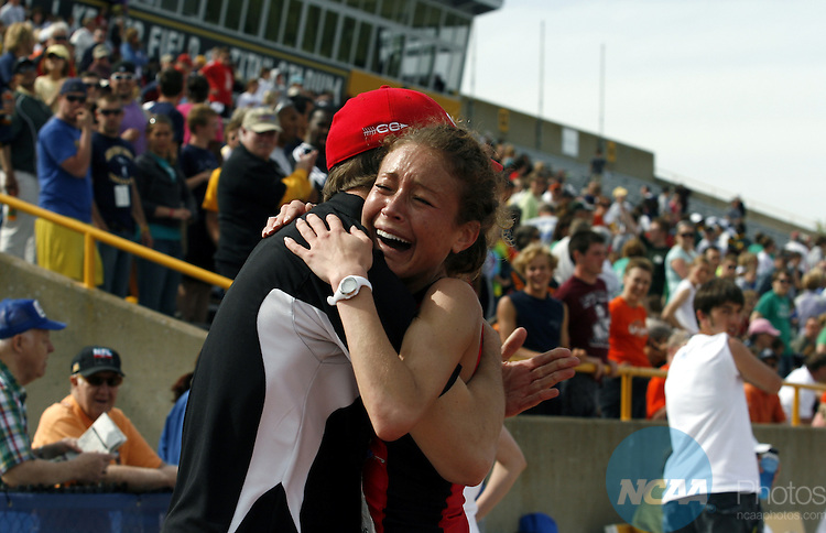 24 MAY 2008:  Becca Jordahl, a freshman from the University of Wisconsin River Falls celebrates her victory in the 5,000 meter run finals with a time of 16:52:39 during the Women's Outdoor Track & Field Championships held at J.J. Keller Field on the University of Wisconsin, Oshkosh campus in Oshkosh, WI.  Al Fredrickson/NCAA Photos