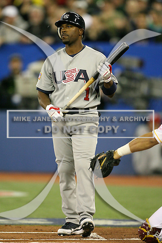 March 8, 2009:  Shortstop Jimmy Rollins (1) of Team USA during the first round of the World Baseball Classic at the Rogers Centre in Toronto, Ontario, Canada.  Team USA defeated Venezuela  15-6 to secure a spot in the second round of the tournament.  Photo by:  Mike Janes/Four Seam Images