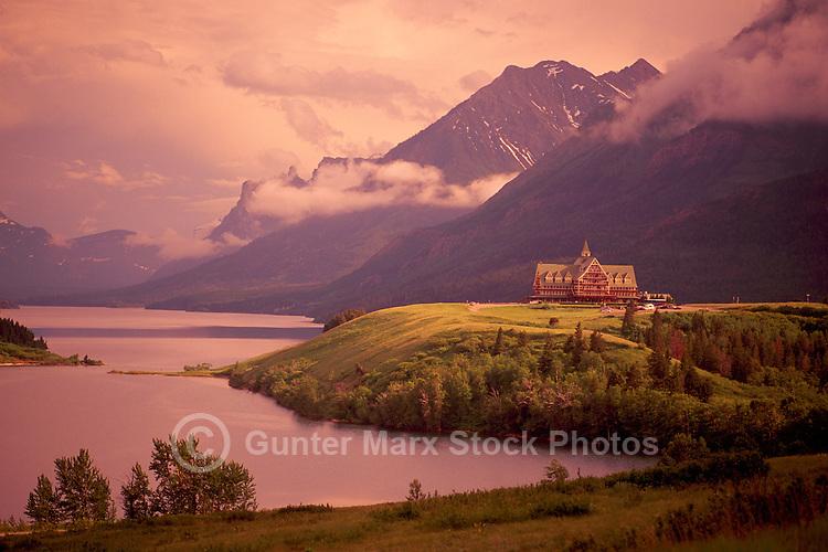 Waterton Lakes National Park, Canadian Rockies, Alberta, Canada - Historic Prince of Wales Hotel at Waterton Lake - UNESCO World Heritage Site