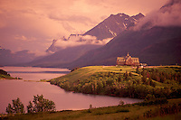 Waterton Lakes National Park, Canadian Rockies, Alberta, Canada - Historic Prince of Wales Hotel at Waterton Lake - UNESCO World Heritage Site