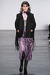 """Model Lary walks runway in a velvet mock turtleneck midi dress in lavender, from the Vivienne Tam Fall Winter 2016 """"Cultural Dreamland The New Silk Road"""" collection, presented at NYFW: The Shows Fall 2016, during New York Fashion Week Fall 2016."""