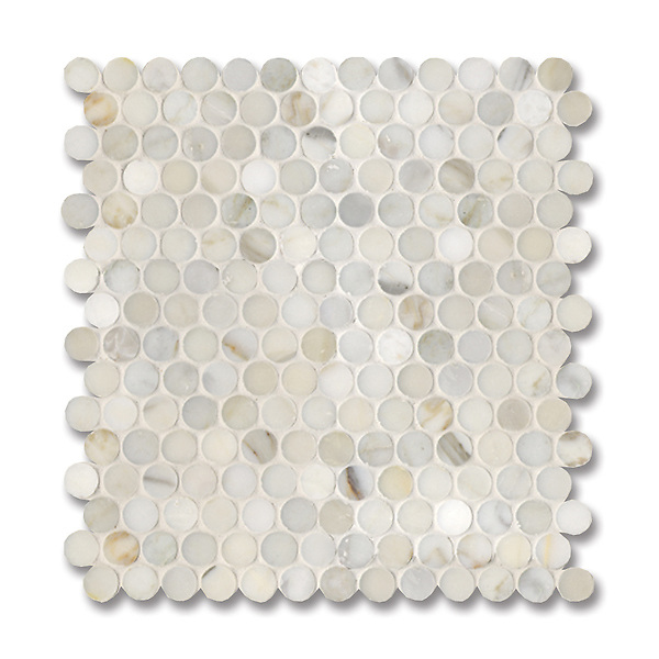 2 cm Pennyrounds shown in polished Calacatta Gold is part of New Ravenna's Studio Line of ready to ship mosaics.