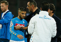 Lorenzo Insigne  and Maurizio Sarri during the Champions League Group  soccer match between SSC Napoli and   Dinamo Kiev  at the San Paolo  Stadium inNaples November 24, 2016