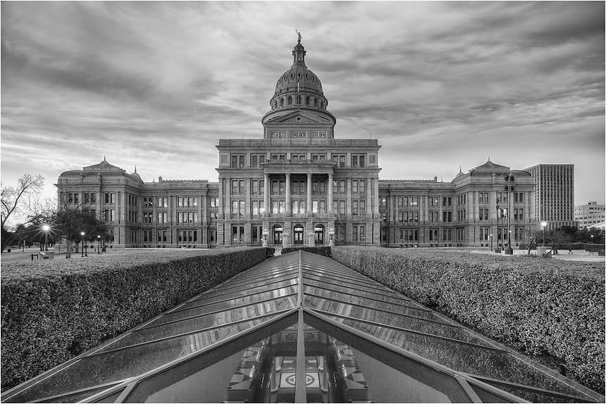 Taken from a wonderful sunrise over the Texas State Capitol, I convereted this image into black and white because I knew the clouds would add a great contrast in the sky.