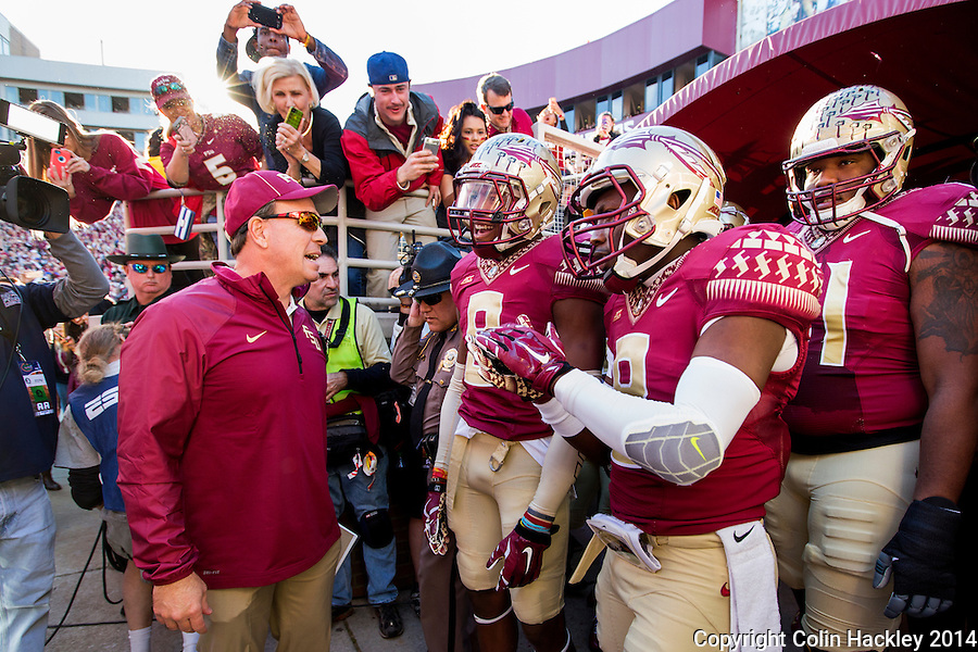 TALLAHASSEE, FL 11/29/14 FSU-UF112914-Florida State Head Coach Jimbo Fisher talks to his team in the tunnel before the University of Florida game Saturday at Doak Campbell Stadium in Tallahassee. <br /> COLIN HACKLEY PHOTO