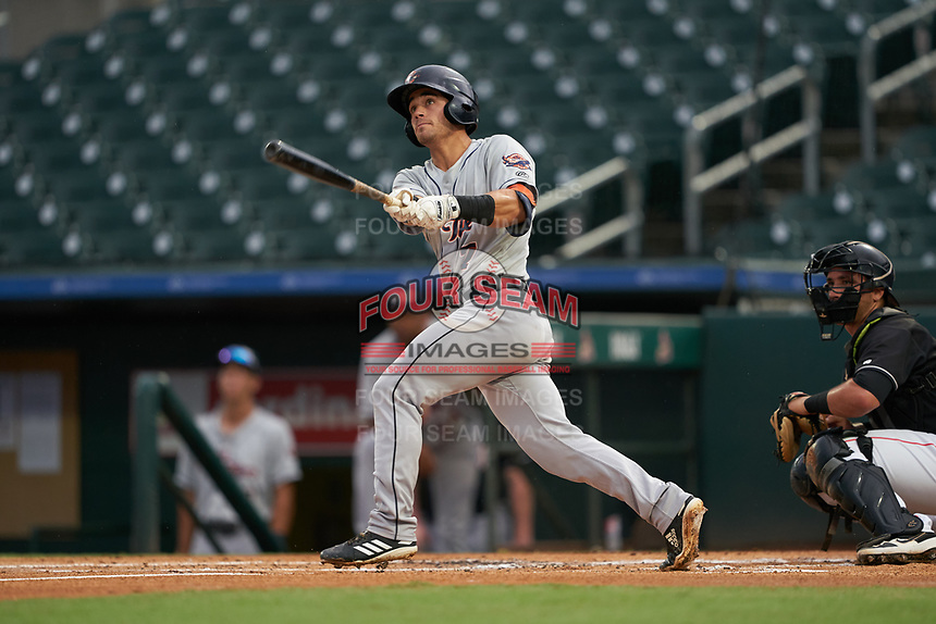 Lakeland Flying Tigers Brady Policelli (7) at bat during a Florida State League game against the Jupiter Hammerheads on August 12, 2019 at Roger Dean Chevrolet Stadium in Jupiter, Florida.  Jupiter defeated Lakeland 9-3.  (Mike Janes/Four Seam Images)