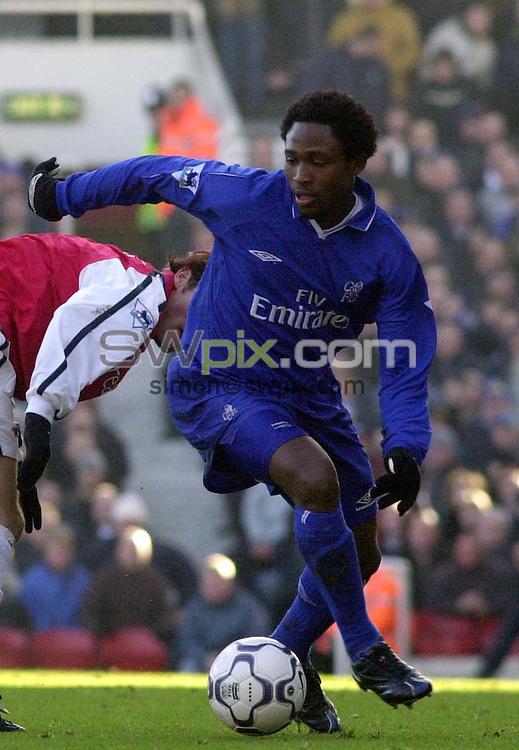 Pix: Dave Winter/SWpix.com. Soccer. FA Barclaycard Premiership. Arsenal v Chelsea. 12/02/2002...COPYWRIGHT PICTURE>>SIMON WILKINSON>>01943 436649>>..Chelsea's Celestine Babayaro.