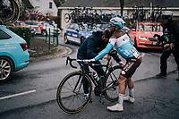 crash by Clément Venturini (FRA/AG2R - La Mondiale)<br /> <br /> 71th Kuurne-Brussel-Kuurne 2019 <br /> Kuurne to Kuurne (BEL): 201km<br /> <br /> ©kramon