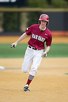 Josh Ellis (9) of the Harvard Crimson hustles towards third base against the Wake Forest Demon Deacons at David F. Couch Ballpark on March 5, 2016 in Winston-Salem, North Carolina.  The Crimson defeated the Demon Deacons 6-3.  (Brian Westerholt/Four Seam Images)