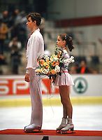 Sergei Grinkov and Ekaterina Gordeeva of Soviet Union winning their first gold in pairs at World Championships in March, 1986 at Geneva, Switzerland.. (Photo by Tom Theobald)