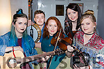 Ciara O'Shea, Sean Kelleher, Lily McSweeney, Nicola Hyslop and Aileen Bourke playing a few tunes at the Gathering festival in the Gleneagle Hotel on Friday night