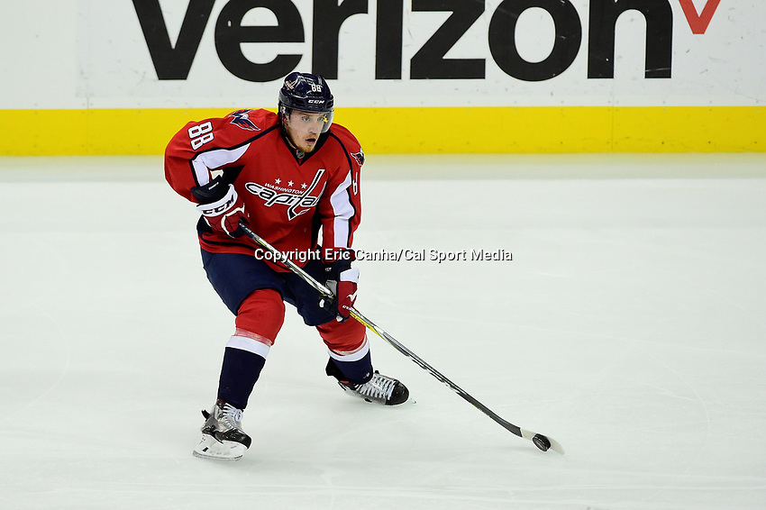 Thursday, April 28, 2016: Washington Capitals defenseman Nate Schmidt (88) skates during game 1 of round 2 of the NHL Eastern Conference playoffs between the Pittsburgh Penguins and the Washington Capitals held at the Verizon Center in Washington DC. The Capitals defeat the Penguins 4-3 in overtime. Eric Canha/CSM
