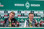 04.10.2019, wohninvest WESERSTADION, Bremen, GER, 1.FBL, PK SV Werder Bremen<br /> <br /> im Bild<br /> Übersicht, <br /> Florian Kohfeldt (Trainer SV Werder Bremen), <br /> Frank Baumann (Geschäftsführer Fußball Werder Bremen), <br /> <br /> Foto © nordphoto / Ewert