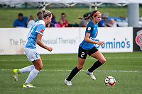 Kansas City, MO - Wednesday August 16, 2017: Alanna Kennedy, Shea Groom during a regular season National Women's Soccer League (NWSL) match between FC Kansas City and the Orlando Pride at Children's Mercy Victory Field.