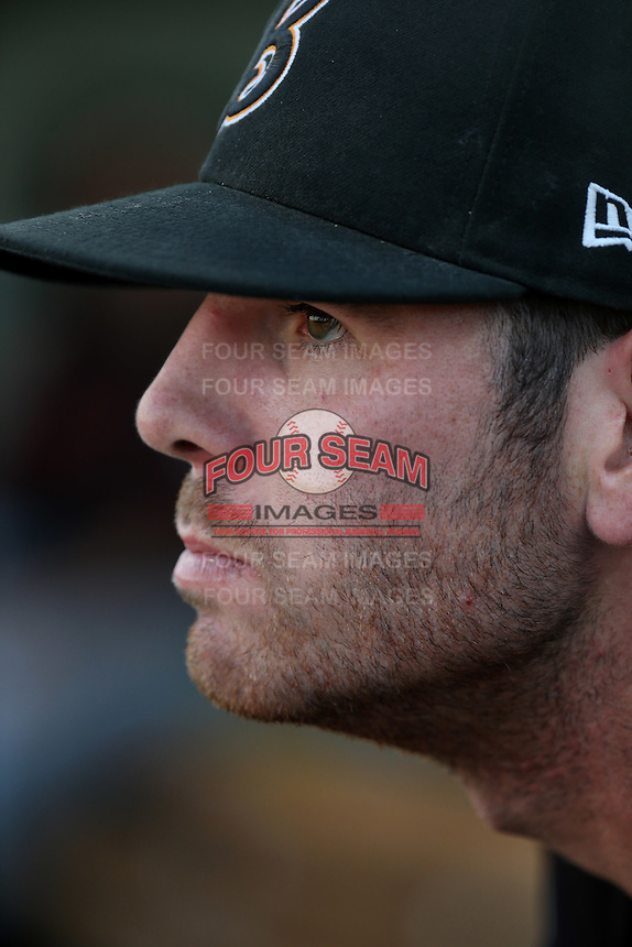 Kyle Petty (22) of the Bakersfield Blaze in the dugout during a game against the Lancaster JetHawks at The Hanger on June 18, 2016 in Lancaster, California. Bakersfield defeated Lancaster, 10-7. (Larry Goren/Four Seam Images)
